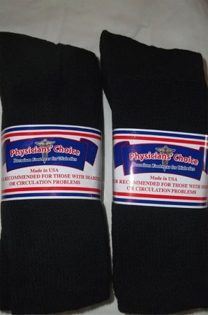 <B>Physicans Choice Big Mens size 13-15- Black- Cushioned-Ventilated Crew Socks- 6 Pr.(Details)</B>